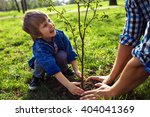 little boy helping his father...   Shutterstock . vector #404041369