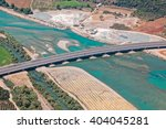 Small photo of Bridge on Achelous or Acheloos river, Agrinio, Greece, aerial view.