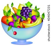 Fresh Fruit In A Bowl  Vector...