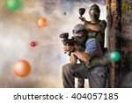 play paintball game  two... | Shutterstock . vector #404057185
