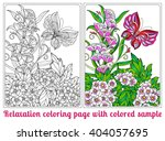 decorative flowers  birds and... | Shutterstock .eps vector #404057695
