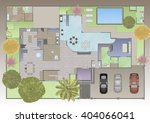 watercolor floor plan  | Shutterstock . vector #404066041