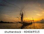 asia fishermen on boat fishing...   Shutterstock . vector #404069515
