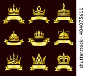 gold crowns and ribbon banner... | Shutterstock .eps vector #404075611