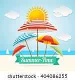 summer card with beach umbrella....