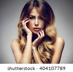 beautiful blonde woman with... | Shutterstock . vector #404107789