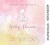 watercolor baby girl shower... | Shutterstock .eps vector #404146039