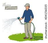 work in the garden. watering... | Shutterstock .eps vector #404156035