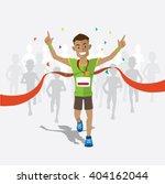 runners cross the finish line... | Shutterstock .eps vector #404162044