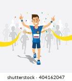 runners cross the finish line... | Shutterstock .eps vector #404162047