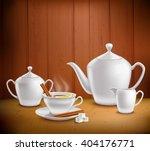 Tea Set Composition With Pot...