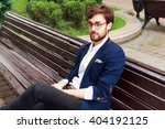 young stylish handsome bearded... | Shutterstock . vector #404192125