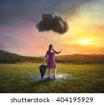 a woman gets soaked by a single ... | Shutterstock . vector #404195929