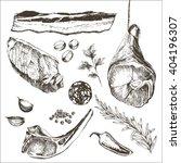 vector steak meat hand drawing...   Shutterstock .eps vector #404196307