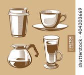 hand drawn vintage brown coffee ... | Shutterstock .eps vector #404203669