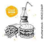vector vintage fast food... | Shutterstock .eps vector #404212669