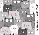 Stock vector cute cats colorful seamless pattern background 404220649