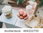 rose and ivory macaroons as a... | Shutterstock . vector #404222755