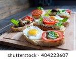 sandwich with egg  tomato ... | Shutterstock . vector #404223607