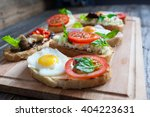sandwich with egg  tomato ... | Shutterstock . vector #404223631