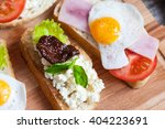 sandwich with egg  tomato ... | Shutterstock . vector #404223691