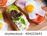 sandwich with egg  tomato ... | Shutterstock . vector #404223691