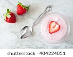 strawberry flavored yogurt with ... | Shutterstock . vector #404224051