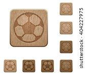 set of carved wooden soccer...
