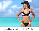 sexy sporty bikini woman ready... | Shutterstock . vector #404228497