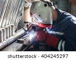 closeup of man wearing mask... | Shutterstock . vector #404245297