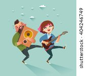 two stylish rock musicians ... | Shutterstock .eps vector #404246749