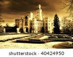 mystical white castle in twilight - stock photo