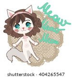 cute card with anime chibi cat... | Shutterstock .eps vector #404265547