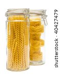 Pasta In Glass Jar On A White...