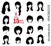 hairstyle silhouette set.woman... | Shutterstock .eps vector #404280205
