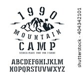 stencil plate slab serif font... | Shutterstock .eps vector #404342101