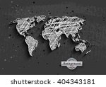 hand drawn white world map on... | Shutterstock . vector #404343181
