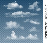 Set Of Realistic And Transparent Different Clouds. Vector Illustration. | Shutterstock vector #404370319