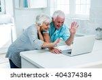 happy senior couple gesturing...   Shutterstock . vector #404374384