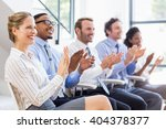 businesspeople applauding while ... | Shutterstock . vector #404378377