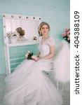 portrait of bride in flower... | Shutterstock . vector #404388109