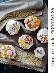 Small photo of Easter traditional ukrainian decorated cake (paska, kulich)
