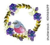 wreath with pink bird.... | Shutterstock . vector #404464699