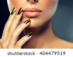 beautiful girl with the golden... | Shutterstock . vector #404479519
