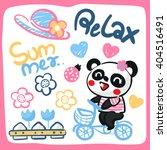 cute cartoon panda girl riding... | Shutterstock .eps vector #404516491