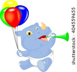 Cute Baby Rhino Cartoon Holdin...