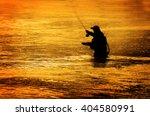 Man Fishing In River Or Lake...