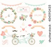 vintage wedding floral... | Shutterstock .eps vector #404593435