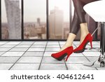 white chair and woman legs and... | Shutterstock . vector #404612641