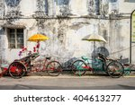an old rickety trishaw cab... | Shutterstock . vector #404613277